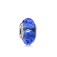 PANDORA潘多拉 深蓝色切割面琉璃925银琉璃串饰791067