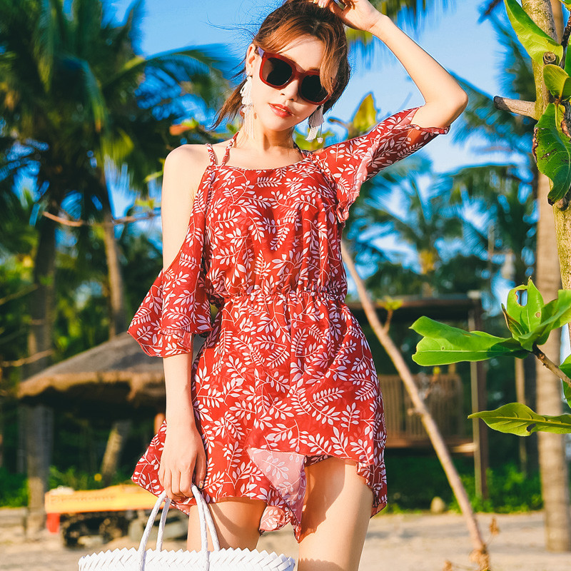 VICKI VICKI 泳衣女性感小胸显瘦长袖分体沙滩裤裙三件套游泳衣罩衫泳装8012 红色 XL