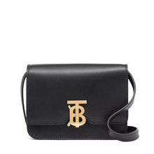 (预售)burberry/博柏利 TB 专属标识皮革锁扣包 迷你 17*6*12.5 黑色