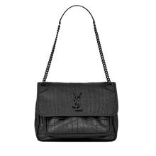 (预售)YSL/圣罗兰 NIKI 牛皮革链条单肩斜跨包 中号 鳄鱼纹 28*20*8.5 黑色