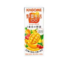 KAGOME 可果美 野菜生活100果蔬汁 200ml 12瓶每箱 芒果味
